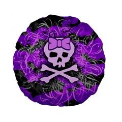 Purple Girly Skull Standard 15  Premium Flano Round Cushion