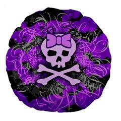 Purple Girly Skull Large 18  Premium Flano Round Cushion