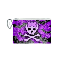 Purple Girly Skull Canvas Cosmetic Bag (Small)