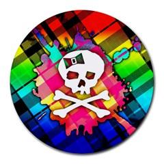 Rainbow Plaid Skull 8  Mouse Pad (round)