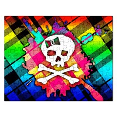 Rainbow Plaid Skull Jigsaw Puzzle (rectangle)