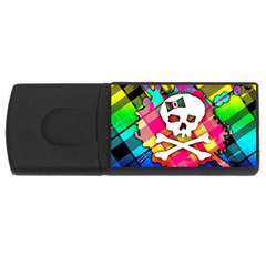Rainbow Plaid Skull 4gb Usb Flash Drive (rectangle)