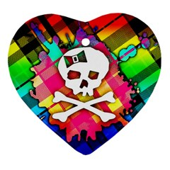 Rainbow Plaid Skull Heart Ornament (two Sides)