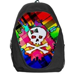 Rainbow Plaid Skull Backpack Bag