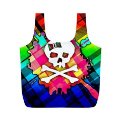 Rainbow Plaid Skull Reusable Bag (m)