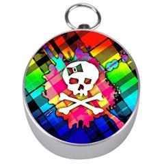 Rainbow Plaid Skull Silver Compass