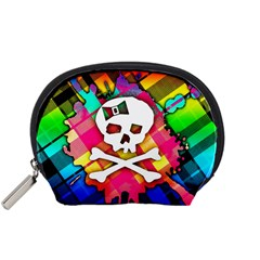 Rainbow Plaid Skull Accessory Pouch (Small)