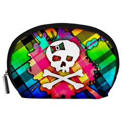 Rainbow Plaid Skull Accessory Pouch (large)