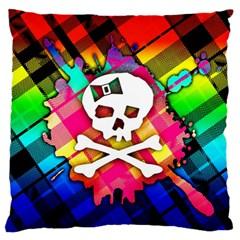 Rainbow Plaid Skull Standard Flano Cushion Case (two Sides)