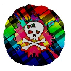Rainbow Plaid Skull Large 18  Premium Flano Round Cushion
