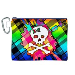 Rainbow Plaid Skull Canvas Cosmetic Bag (XL)