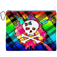 Rainbow Plaid Skull Canvas Cosmetic Bag (xxxl)