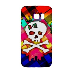 Rainbow Plaid Skull Samsung Galaxy S6 Edge Hardshell Case