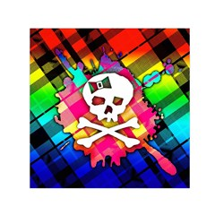Rainbow Plaid Skull Small Satin Scarf (square)