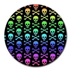 Rainbow Skull And Crossbones Pattern 8  Mouse Pad (round)