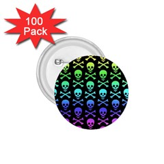 Rainbow Skull And Crossbones Pattern 1 75  Button (100 Pack)