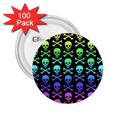 Rainbow Skull And Crossbones Pattern 2 25  Button (100 Pack)