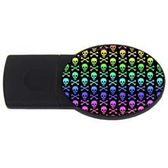 Rainbow Skull And Crossbones Pattern 4gb Usb Flash Drive (oval)