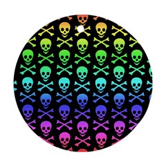 Rainbow Skull And Crossbones Pattern Round Ornament (two Sides)