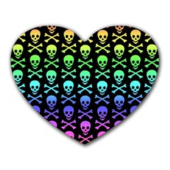 Rainbow Skull And Crossbones Pattern Mouse Pad (heart)
