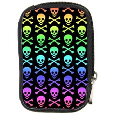 Rainbow Skull And Crossbones Pattern Compact Camera Leather Case