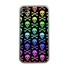 Rainbow Skull And Crossbones Pattern Apple Iphone 4 Case (clear)