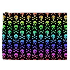 Rainbow Skull And Crossbones Pattern Cosmetic Bag (xxl)