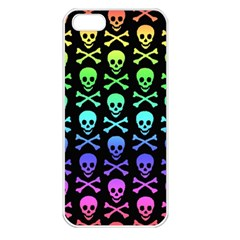 Rainbow Skull And Crossbones Pattern Apple Iphone 5 Seamless Case (white)