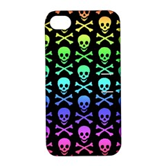 Rainbow Skull And Crossbones Pattern Apple Iphone 4/4s Hardshell Case With Stand
