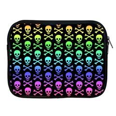 Rainbow Skull And Crossbones Pattern Apple Ipad Zippered Sleeve