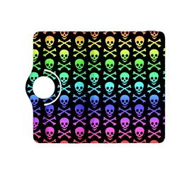 Rainbow Skull And Crossbones Pattern Kindle Fire Hdx 8 9  Flip 360 Case