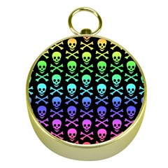 Rainbow Skull and Crossbones Pattern Gold Compass