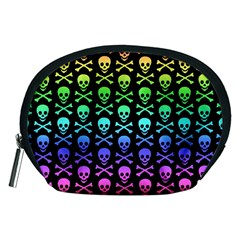 Rainbow Skull and Crossbones Pattern Accessory Pouch (Medium)