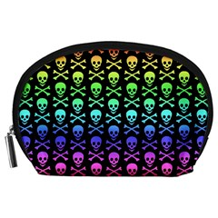 Rainbow Skull and Crossbones Pattern Accessory Pouch (Large)