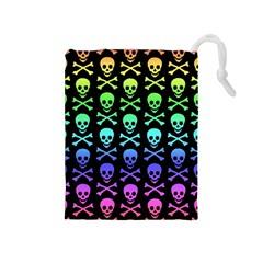 Rainbow Skull and Crossbones Pattern Drawstring Pouch (Medium)