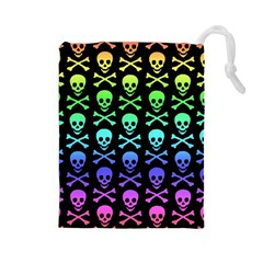 Rainbow Skull and Crossbones Pattern Drawstring Pouch (Large)