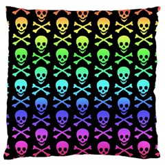 Rainbow Skull and Crossbones Pattern Standard Flano Cushion Case (One Side)