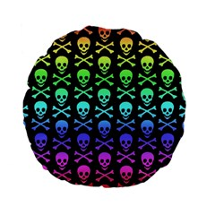 Rainbow Skull And Crossbones Pattern Standard 15  Premium Flano Round Cushion