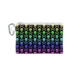 Rainbow Skull and Crossbones Pattern Canvas Cosmetic Bag (Small)