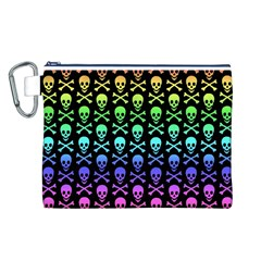 Rainbow Skull and Crossbones Pattern Canvas Cosmetic Bag (Large)