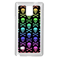 Rainbow Skull and Crossbones Pattern Samsung Galaxy Note 4 Case (White)