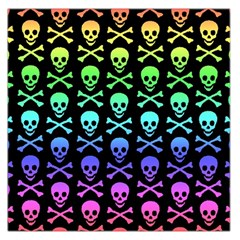 Rainbow Skull and Crossbones Pattern Large Satin Scarf (Square)