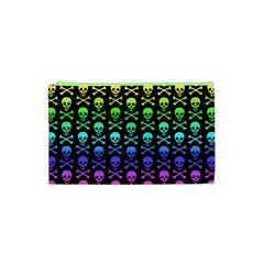 Rainbow Skull and Crossbones Pattern Cosmetic Bag (XS)