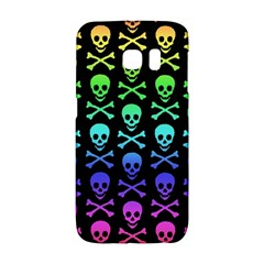 Rainbow Skull and Crossbones Pattern Samsung Galaxy S6 Edge Hardshell Case