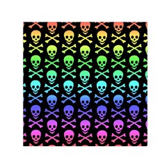 Rainbow Skull and Crossbones Pattern Small Satin Scarf (Square)
