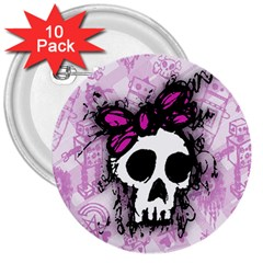Sketched Skull Princess 3  Button (10 Pack)