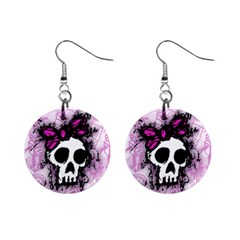 Sketched Skull Princess Mini Button Earrings