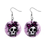 Sketched Skull Princess Mini Button Earrings Front