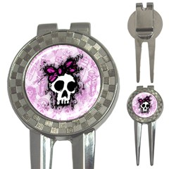 Sketched Skull Princess Golf Pitchfork & Ball Marker