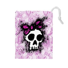 Sketched Skull Princess Drawstring Pouch (large)